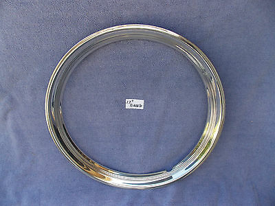 """1 17"""" Polished Stainless Steel Ribbed Trim Ring For Hot Rods"""