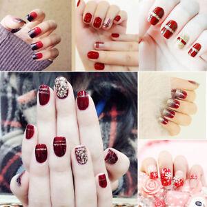 24-Pcs-Clavo-Falso-Rojo-con-Brillo-Acrilico-Cubierta-Completa-clavos-falsos-Cuadrado-Arte-en-Unas