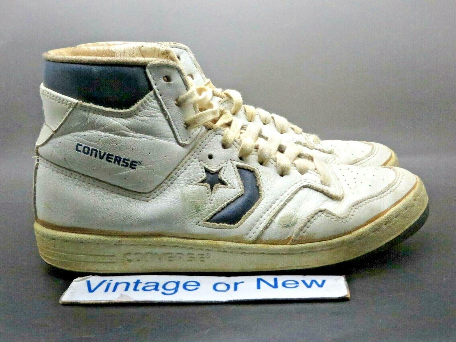 Vintage Années 80 1984 Converse Startech Blanc Bleu Marine Dr. J Basketball chaussures sz 7