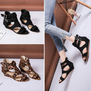 Women-039-s-Leopard-Sandals-Cut-Out-Wedge-Heels-Peep-Toe-Ankle-Buckle-Casual-Shoes