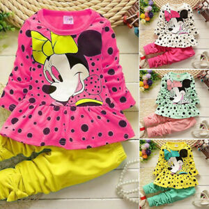 2pcs-New-Baby-Kid-Toddler-Girl-Minnie-Mouse-Outfit-Clothes-Set-T-shirt-Top-Pants