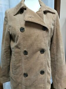 GAP-Women-s-Corduroy-Jacket-Pea-Coat-Pea-Coat-Camel-Sz-Medium-Double-Breasted