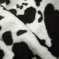 Black & White Cow Print Medium Pile Faux Fur Fabric (Per Metre)
