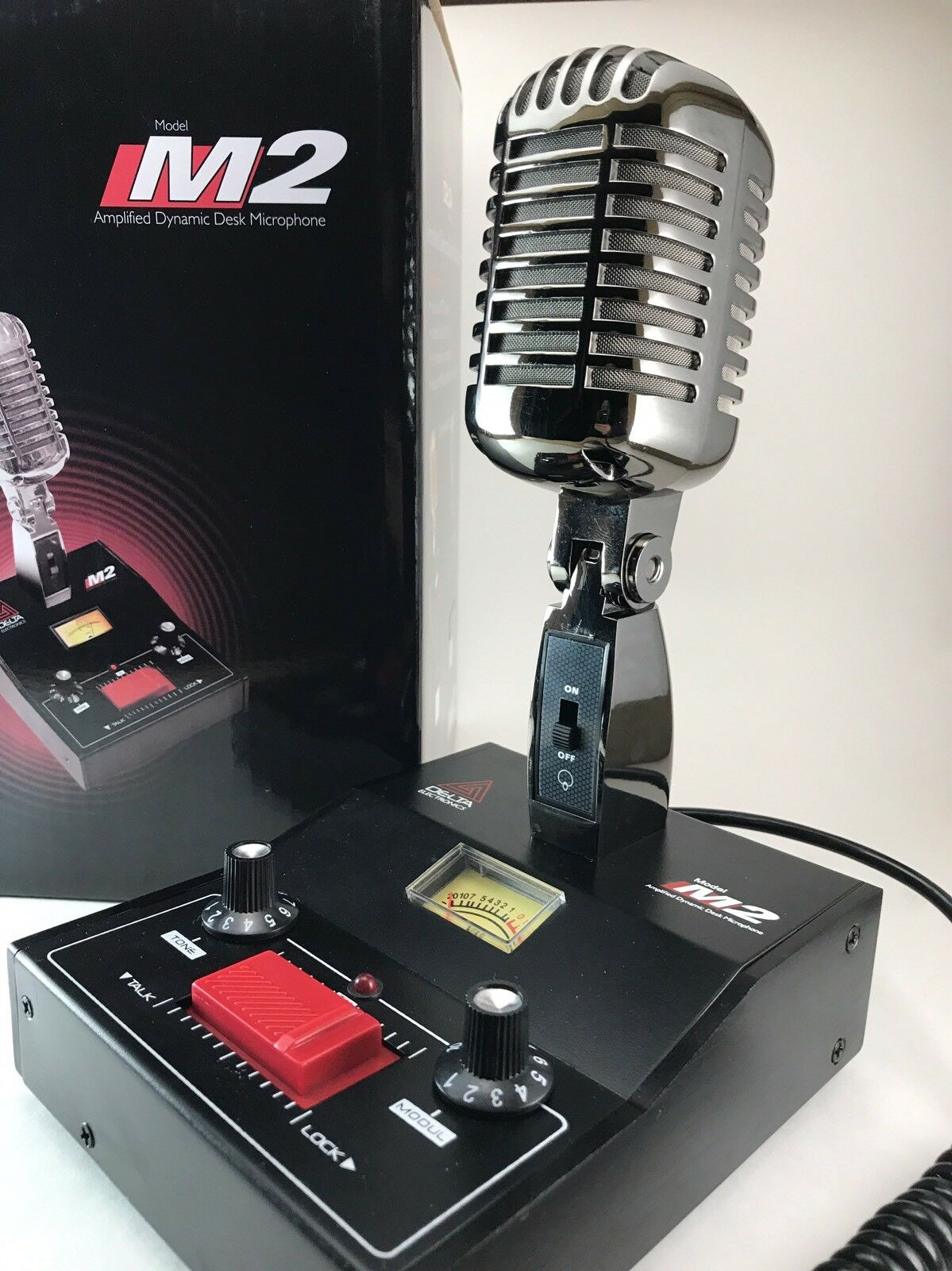 BLACK CHROME COBRA GALAXY DELTA M2 AMPLIFIED POWER BASE MICROPHONE CB HAM MIC. Available Now for 139.95