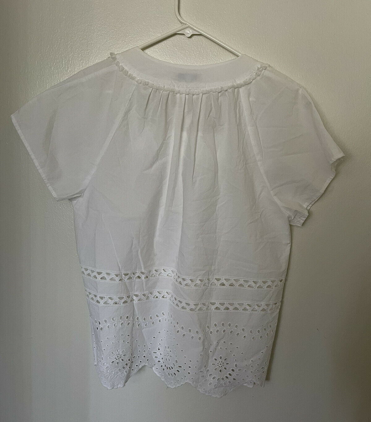 Madewell Top Womens Size L Cotton White Eyelet An… - image 4