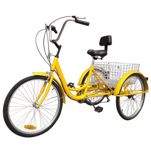 "Shimano 6-Speed 24/"" Adult 3-Wheel Tricycle Bicycle Trike Cruise Bike 3 Colors"