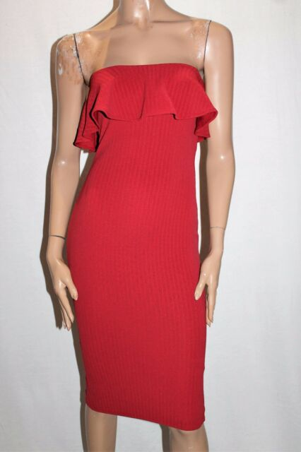 ASOS Designer Red Textured Frill Strapless Bodycon Dress Size 8 BNWT #SH114