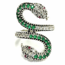 ART DECO STYLE NATURAL EMERALD & RUBY SNAKE RING 925 STERLING SILVER SIZE - 8