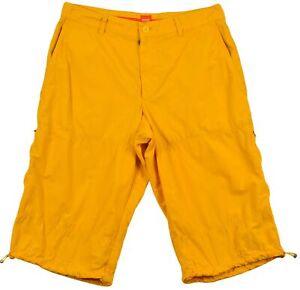 Hugo Boss Para Hombre Pantalones Cortos Bermudas Algodon Amarillo Boton Bolsillo Cremallera Talla W 38 Ebay