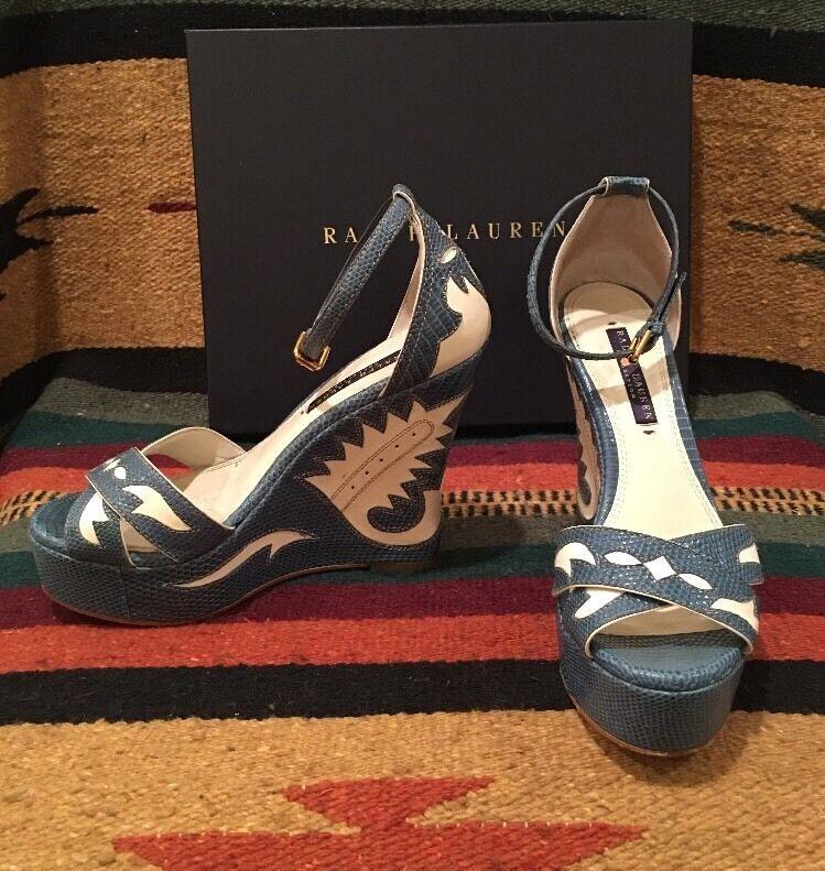 RALPH LAUREN COLLECTION Western bluee Cream Leather Wedge Heel Sandals 7.5B