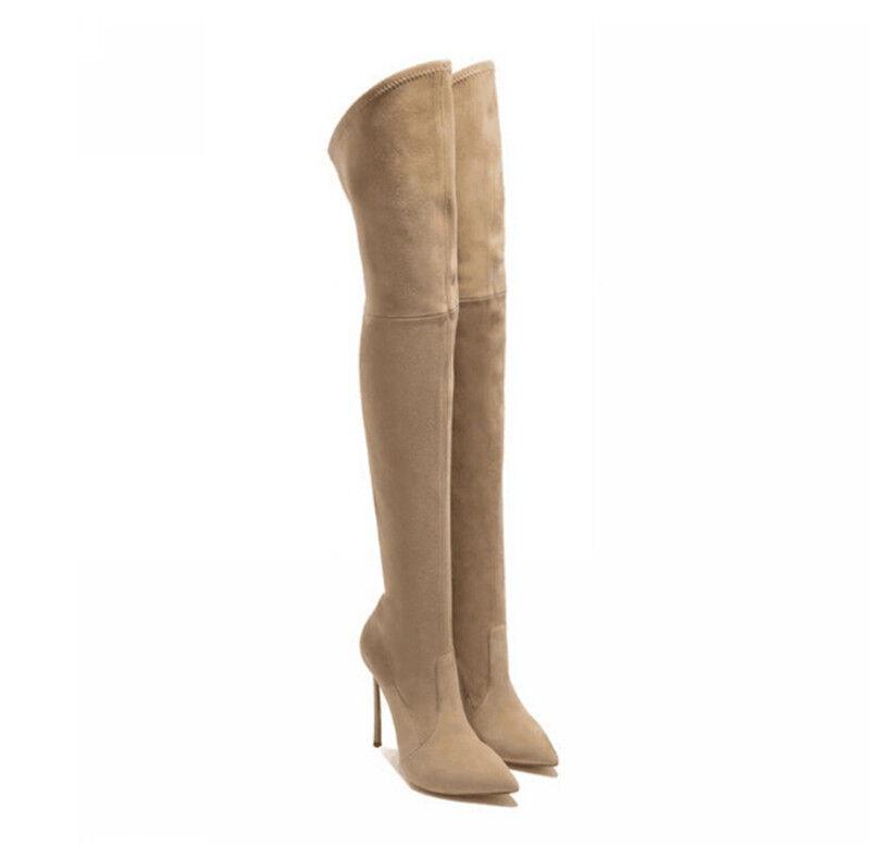Stiefel Kim Kardashian Beige 2 Weich Up Knie Schenkel 12 cm Stilett Hoch 9678