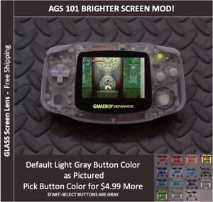 Nintendo Game Boy Advance  System AGS101 Backlit Mod-Glass Screen - CLEAR