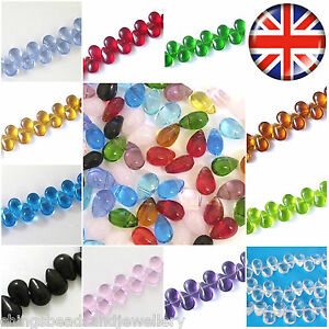 120-Crystal-glass-Teardrop-beads-9x6mm-Choose-colour
