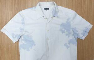 "U2 Vintage Mens Short Sleeve Shirt 100% Cotton Beige Grey Abstract XL 44"" Chest"