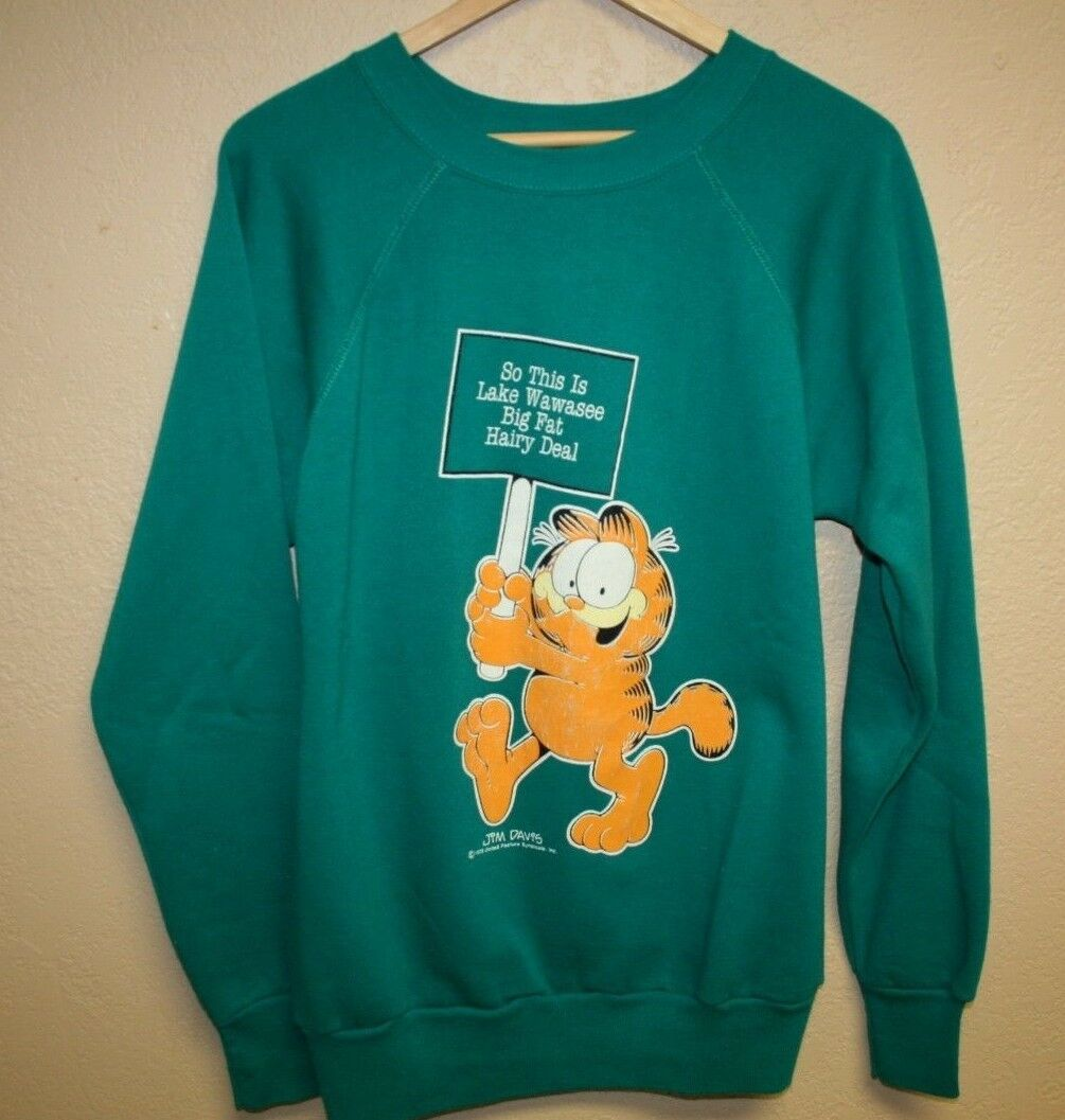 Herren Vintage 80s GARFIELD Lake Wawasee Indiana Cartoon Sweatshirt Fits Sm-Slim M