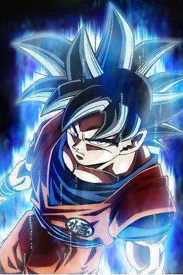 Dragon Ball Super Poster Goku Ultra Instinct Punching 12in x 18in Free Shipping
