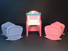 2004 Fisher Price Loving Family Twin Bassinets Boy & Girl With Changing Table