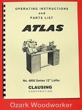 Clausing 100 Atlas 4800 Series 12 Metal Lathe Operating Amp Parts Manual 0133