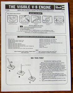 INSTRUCTIONS-FOR-ASSEMBLING-1977-REVELL-VISIBLE-V-8-ENGINE-MODEL