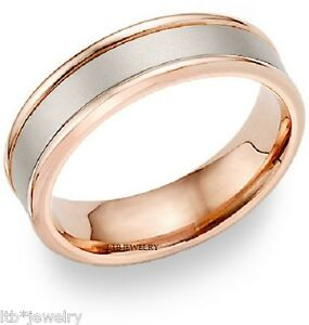 Image Is Loading Mens 14k White And Rose Gold Wedding Bands