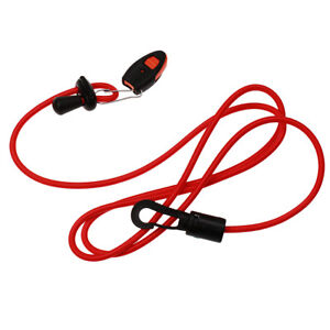 Red-Elastic-Kayak-Canoe-Paddle-Leash-Clip-Fishing-Rod-Tether-Holder-Whistle