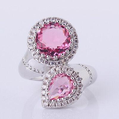 Sz6-Sz10!18k white gold filled novel vogue pink Swarovski Crystalchic ring