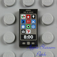 Lego Minifig Black Smart Cell Phone 1x2 Printed Tile Girl Friends App Iphone