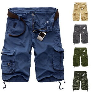 Men-Elasticated-Waist-Cotton-Cargo-Combat-3-4-Long-Length-Shorts-Kings-Summer-T9