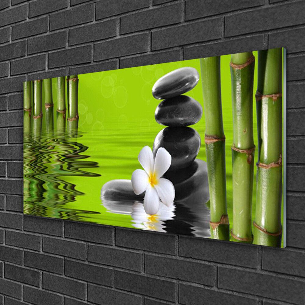Tableau sur verre Image Impression 100x50 Art Bambou Fleurs Pierres