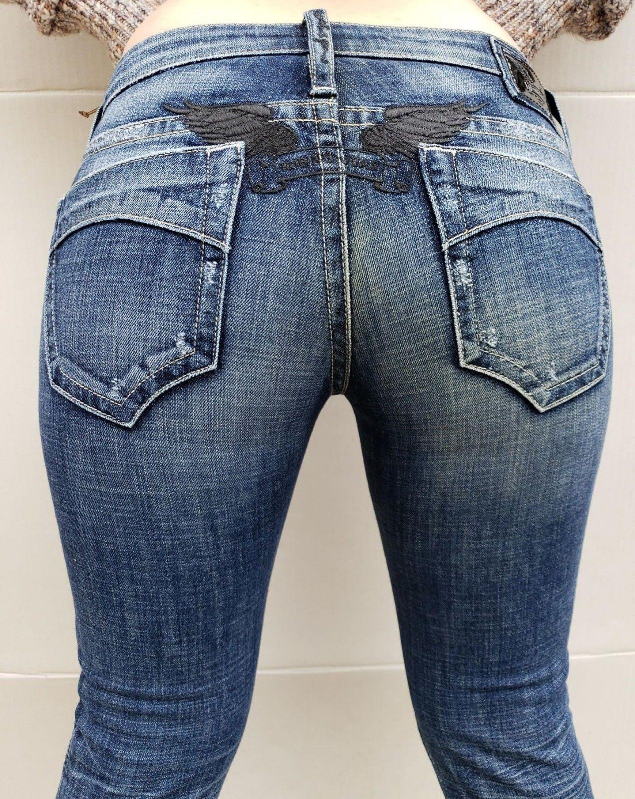 New Women's ROBIN'S JEAN sz 26  SPAC8891 BENSON Skinny Jeans -BlkWings-A1