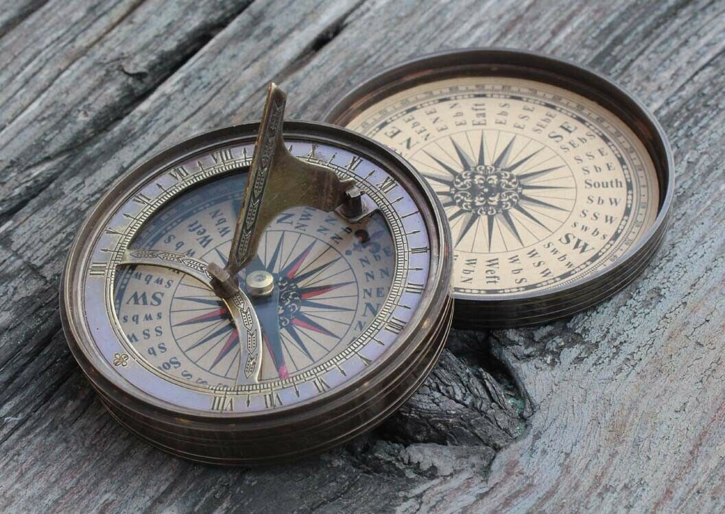 Vintage Burnished Brass Sundial Compass for Camping/Sundial Compass for Hiking,