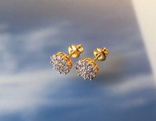 Mens /& Ladies 10K Gold Finish VS1 Brilliant Lab Diamond Screw Back Stud Earrings