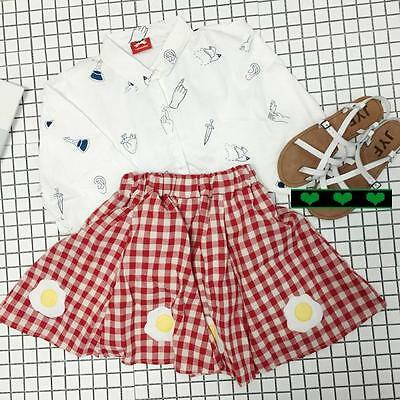 2015 Harajuku Lovely Cute Embroidery Poached Eggs Plaid Skirt Pleated Skirts