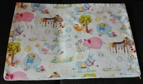Baby Kissenhülle Kissenbezug 40x60 cm Bauernhof Kinderkissen Handarbeit Pferd