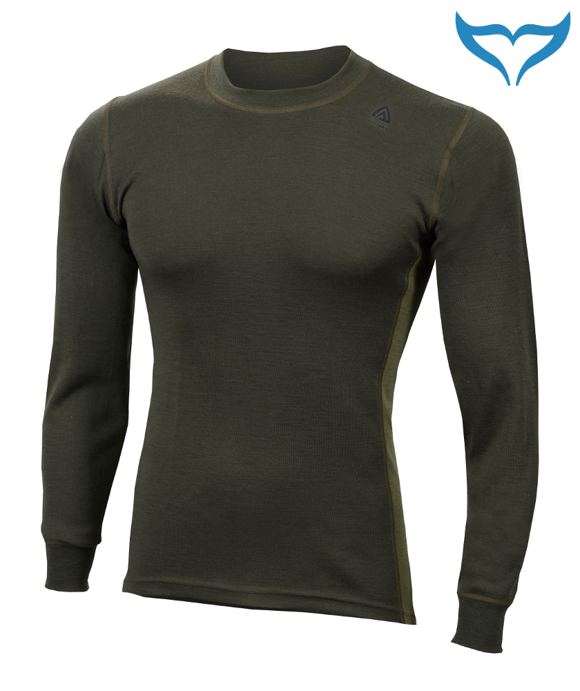 Aclima Warmwool Shirt Crew Neck M - XXL Funktionswäsche Merino Wool 200g olive