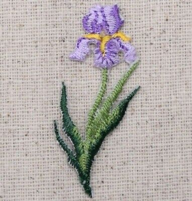 Iron On Embroidered Applique Patch Yellow//Violet Pansy Pansies Flowers Small