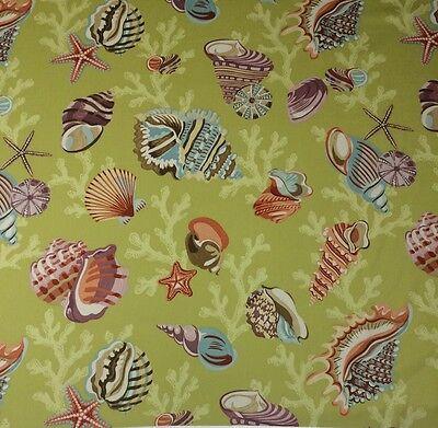 P Kaufmann C Beach Algae Green Seashell Starfish Fabric By The Yard 54 W