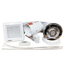 "Shower Light Extractor Fan Bathroom Inline Chrome White Grille Timer 4"" 100m3/hr"