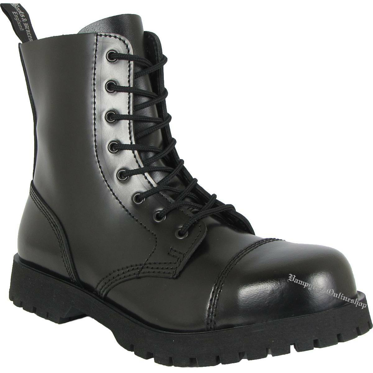 stivali and Braces 8 fori Rangers Nero Cappuccio Acciaio Stivali Di Pelle scarpe nero | Moderno Ed Elegante Nella Moda  | Sig/Sig Ra Scarpa