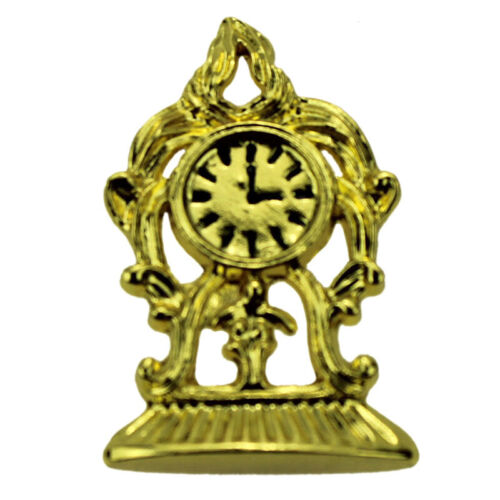 1:12 Miniature golden clock dollhouse diy doll house decor accessories PBCM