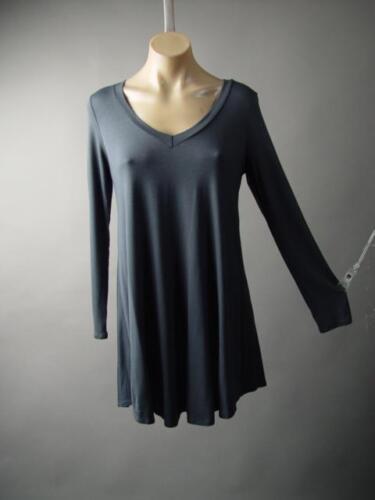 Dark Gray V-Neck Minimalist Basic Jersey A-Line Flared Shirt 233 mv Dress S M L