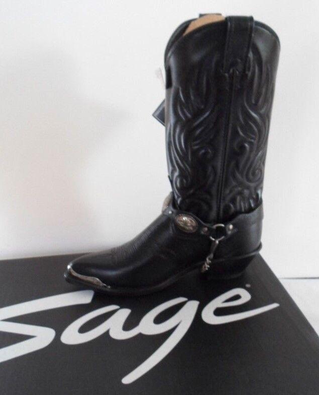i nuovi marchi outlet online SAGE SAGE SAGE Stivali Cowboy Stivali In Pelle Da Donna Air Ride Nero Con argentoo dimensione 6  economico e di alta qualità
