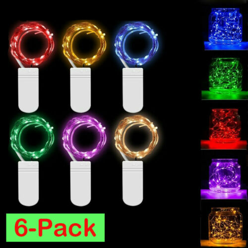 6 Pack 20 LED Battery Operated Micro Rice Wire Copper Fairy String Lights Yc