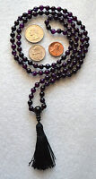 Amethyst Indigo 6mm Prayer Beads Hand Knotted Meditation Chakra Mala Necklace