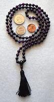 Amethyst Indigo 6mm Prayer Beads Hand Knotted Meditation Chakra Mala Necklace