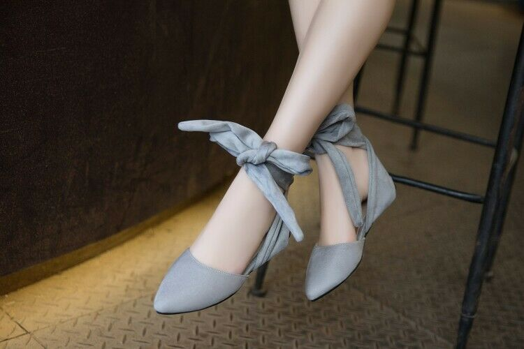 Women's Casual Flat Lace Up Tie Bow Strap Slingback Pointed Toe Faux Suede Shoes