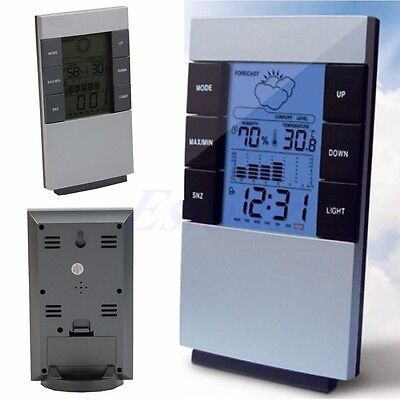 Indoor Digital LCD Thermometer Hygrometer Temperature Humidity Meter Clock Alarm