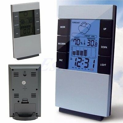 Indoor Digital LCD Thermometer Hygrometer Temperature Humidity Meter Clock Alarm