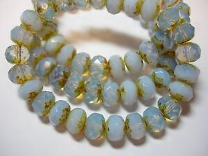 25 8x6mm Cool Breeze - Soft Blue Opal Czech Glass Picasso Rondelle beads