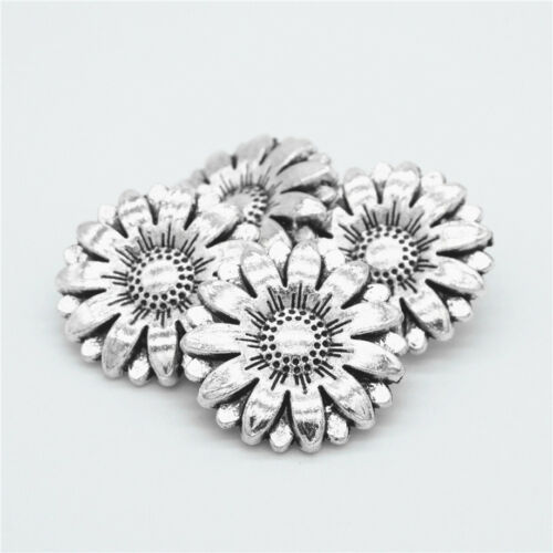 Metal Sunflower Carved Antique Sewing Craft DIY Silver Shank Buttons 2//4//10Pcs